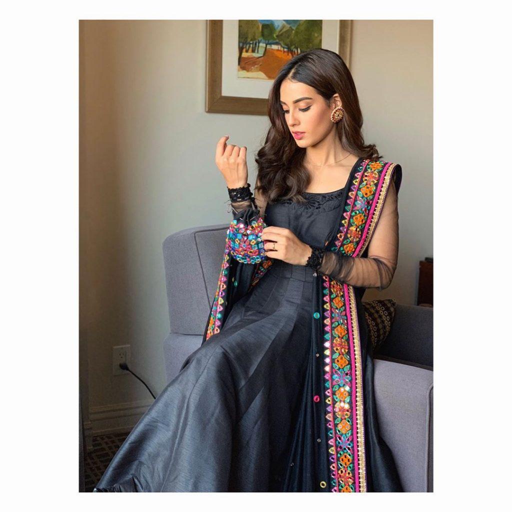 Iqra Aziz Dazzles In A Black Anarkali Dress