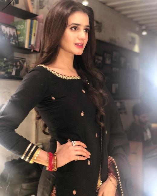 Hira Mani black dress