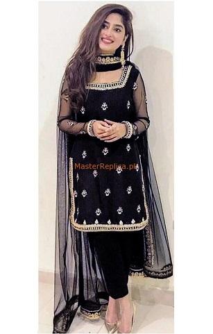 Sajal Ali appeared in black dresses.
