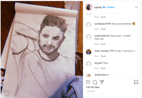 Sajal Aly draws a sketch of husband Ahad Raza Mir