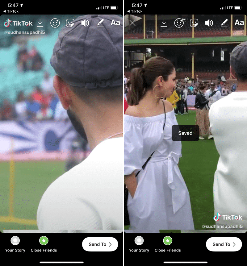 3. This will bring a progress bar for saving the video. The app will open up Instagram with the screen for adding a story. The video should be playing already.