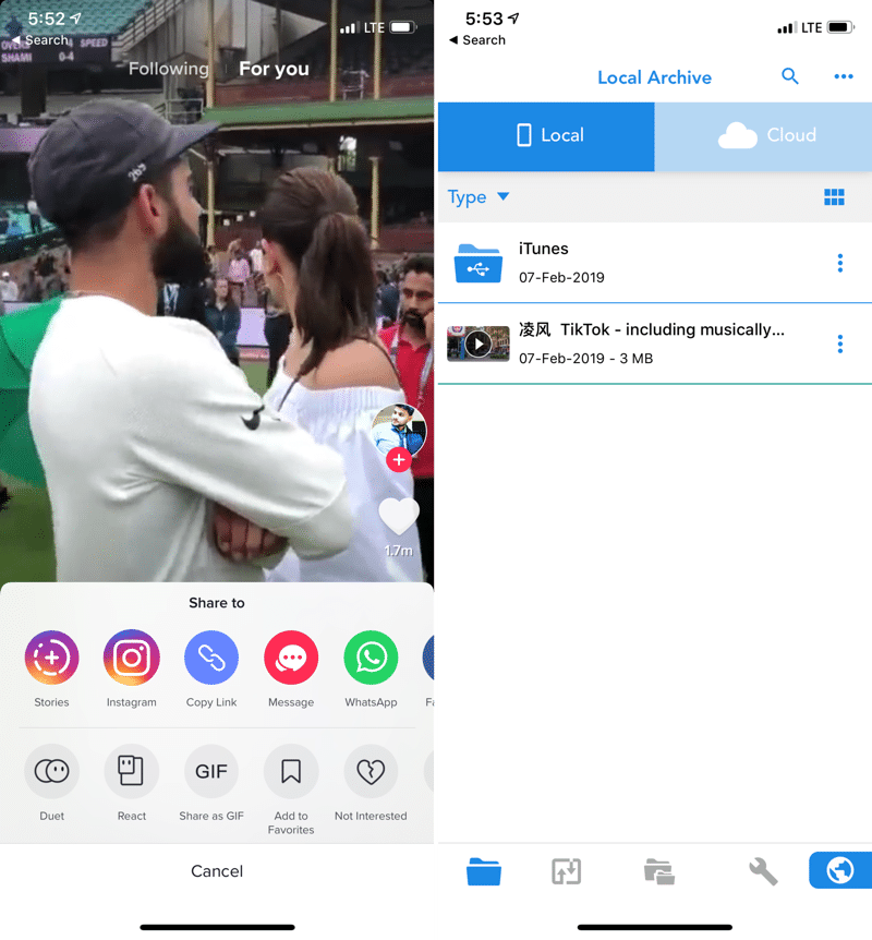 Download TikTok Videos Using Total Files App If you are not on Instagram or you don't want to use the Instagram app, you can use the Total Files manager to download the video by following the steps below 1. Open the TikTok app and find the video as usual 2. Tap on the Share button and tap on Copy Link