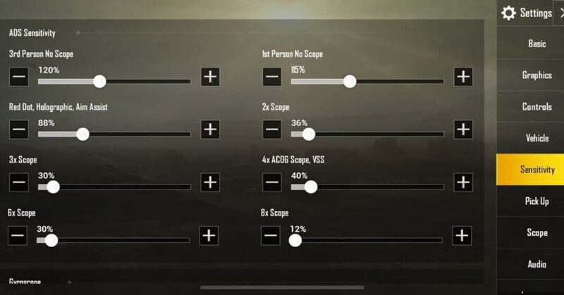 BTR Zuxxy Camera Sensitivity settings